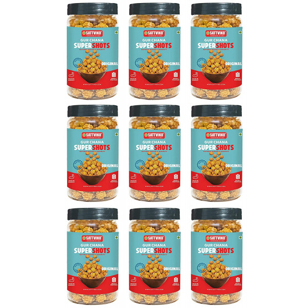 Gur Chana Supershots (Pack of 9 Jars * 90 gm) | Fo...