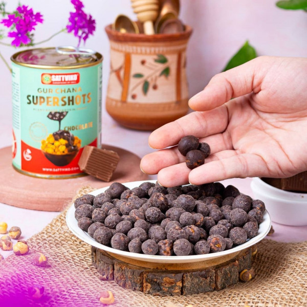 Chocolate Gur Chana Supershots (Pack of 2 Jars * 160 gm each) | Foodyoga